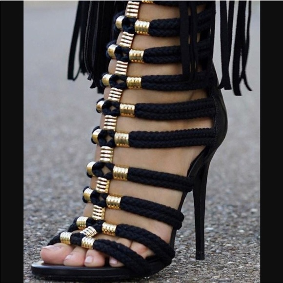 0890ecc8b311 Balmain Shoes - H M x Balmain Exclusive Rope Gladiator Heels